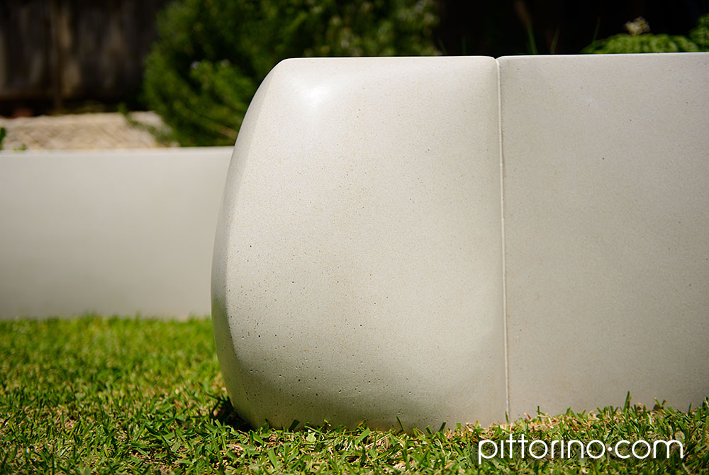 sculpted concrete retaining wall - pillow shape, Sydney, Australia