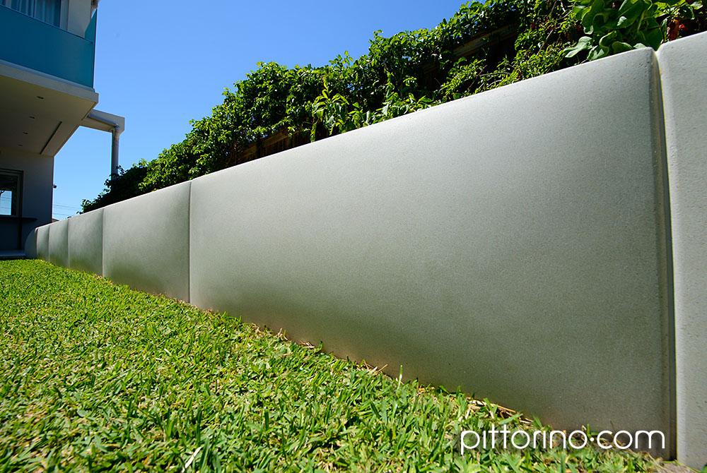 sculpted concrete retaining wall - pillow shape, Sydney, Australia