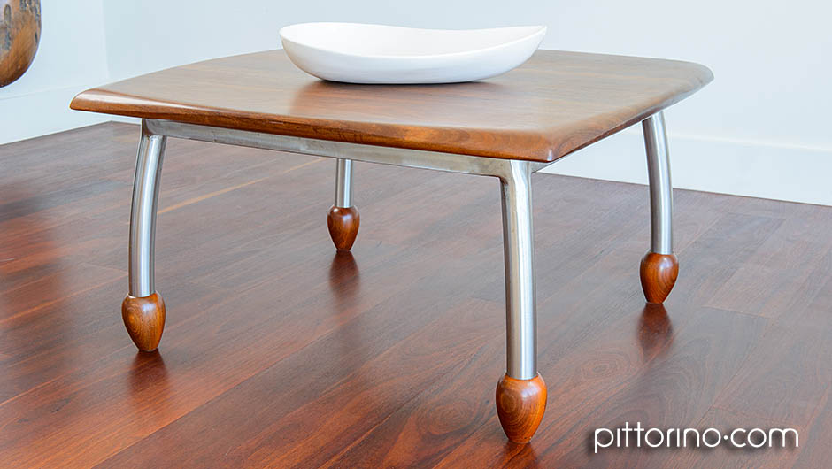 'en pointe' timber and stainless steel coffee table, Sydney Eastern Suburbs Australia