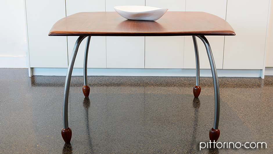 'en pointe' timber and stainless steel dining table, Sydney Eastern Suburbs Australia