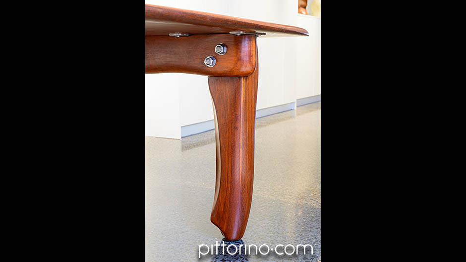 'milonga' hand shaped timber dining / boardroom table, leg detail, Sydney, Australia