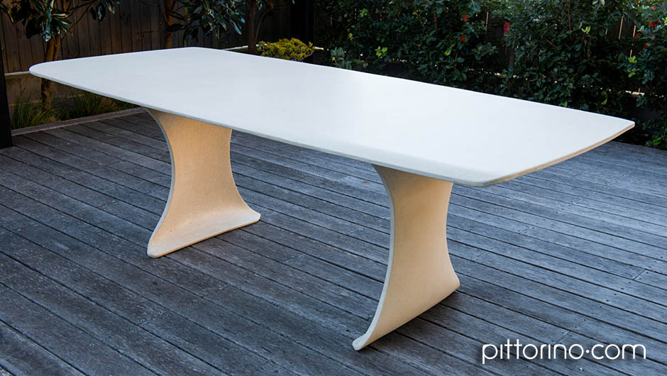glass fibre reinforced concrete sculpted outdoor dining table, Sydney Eastern Suburbs, Australia