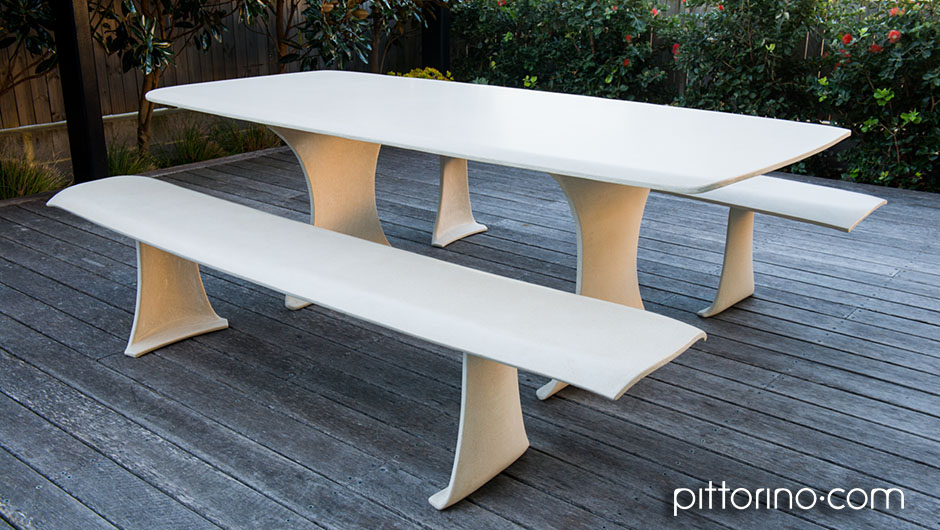 glass fibre reinforced concrete sculpted outdoor dining table and bench seats, Sydney Eastern Suburbs, Australia