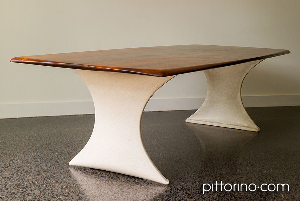 bespoke timber and concrete dining table, Sydney Australia