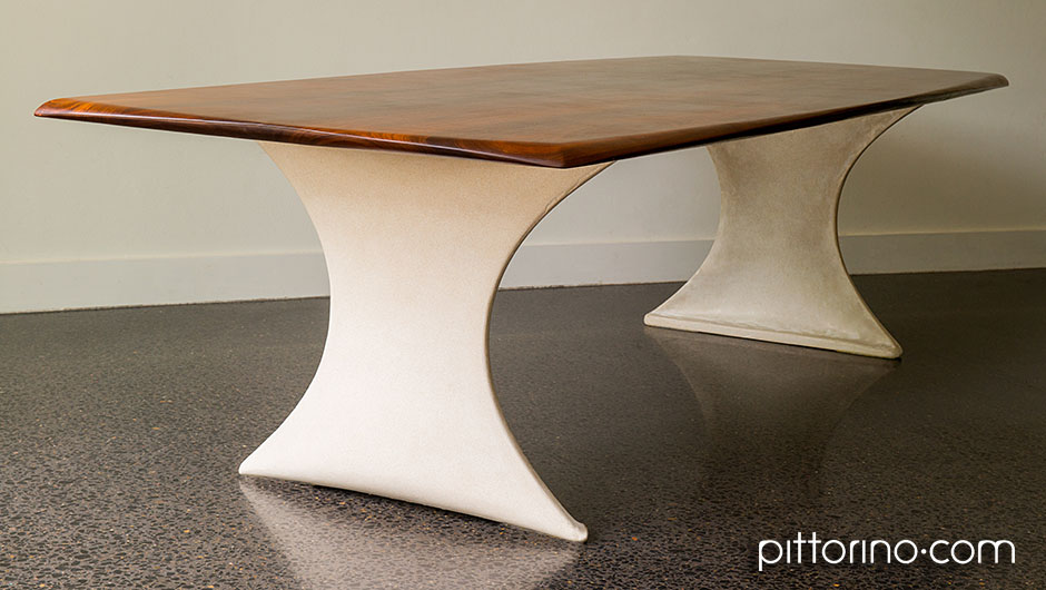 timber and glass fibre reinforced concrete sculpted dining or boardroom table, Sydney Eastern Suburbs, Australia