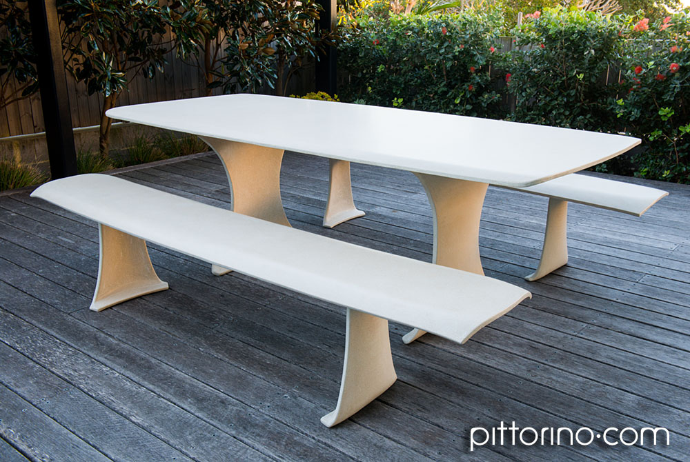 bespoke outdoor concrete table and benches