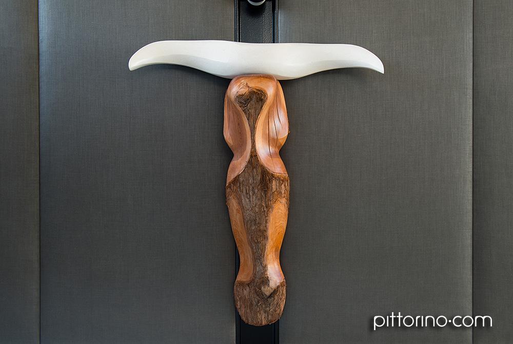timber sculpture with concrete horns 'sono venuti finalmente' by Sydney artist Robbi Pittorino
