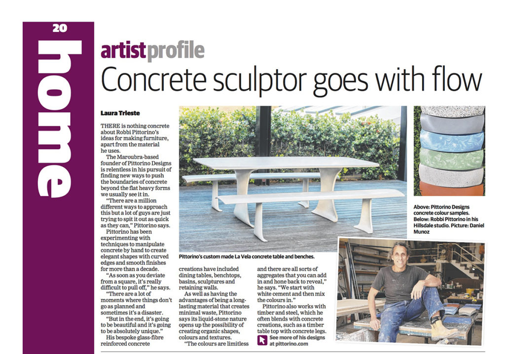 """Concrete Artist Goes With The Flow"" News Local Article about Pittorino Designs"